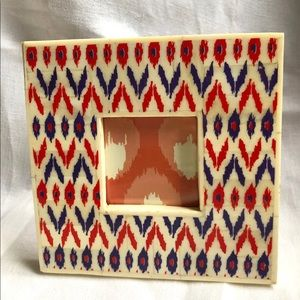 Bone Inlay Frame with Ikat Pattern Decal